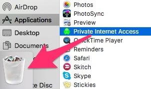 Delete Private Internet Access